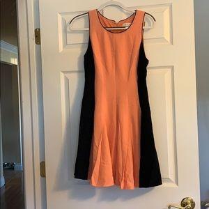 Peach and black swing dress